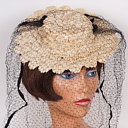 Vintage 1940s Off-White Straw Tilt Hat with Black Tulle Veil