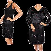 Vintage 60s Oriental Black Silk Satin Cha Cha Mambo Dance Dress w Jacket S / M