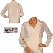 Vintage 70s Courreges Paris Ivory Silk Blouse Size 000 S / M