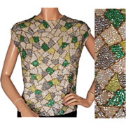 Vintage 60s Geometric Pattern Sequin Shell Top Size Large