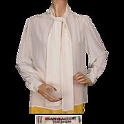 Vintage 1970s Yves Saint Laurent Cream White Silk Blouse Size S