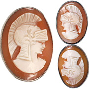 Vintage 900 Silver Cufflinks with Centurion Carved Cameos