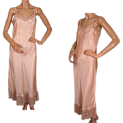 Vintage 1930s Long Pink Silk Slip with Lace Trim Size M