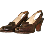 Vintage 1940s Brown Leather Peeptoe Shoes - Size 7AAA  - I Miller