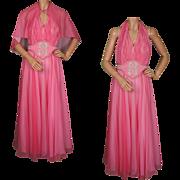 Vintage 60s Pink Chiffon Evening Gown Halter Style Dress Size M / L