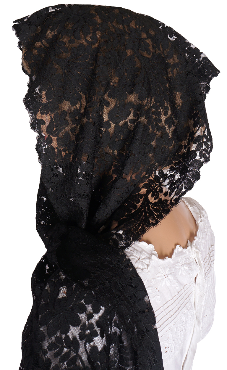 Vintage Black Lace Shawl Spanish Mantilla Rectangular Head ...