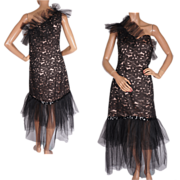 Vintage 60s Black Lace & Tulle Party Dress One Shoulder Style Size M