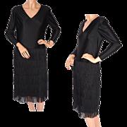 Vintage 60s Cha Cha Dress with Fringe -  M