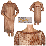 Vintage 60s Beaded Dress Made in Hong Kong for Heftco Size M 10