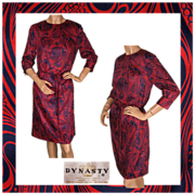 Vintage 60s Psychedelic Dress Dynasty Hong Kong Silk Blend Size M 10