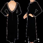 Vintage 60s Black Velvet Evening Gown Dress with Crystal Rhinestone Trim Size S