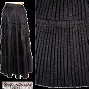 Vintage 1970s Yves Saint Laurent Silk Moire Skirt Pleated Full Length Size XS