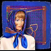 Vintage 1980s Weill Paris Silk Scarf Twill Square Equestrian Design