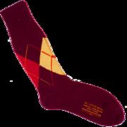 Vintage 50s Mens Maroon Wool Argyle Socks Size L 10.5 Unused