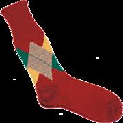 Vintage 50s Mens Rust Colored Wool Argyle Socks Size L 10.5 Unused