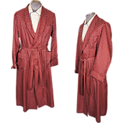 Vintage 1950s Mens Dressing Gown in Red with Diamond Pattern Size L / XL