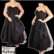 Vintage 1950s Fred Perlberg Shelf Bust Dress Black Taffeta Formal Prom Gown M