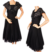 1960s Black Chiffon & Lace Dress - S