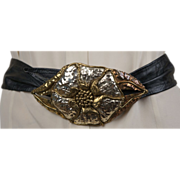 1980s Mixed Metal Belt Buckle and Belt