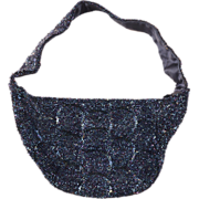Vintage 1950s Blue Beaded Evening Bag
