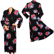 Vintage 1940s Rayon Robe Dressing Gown Roses Print  L