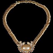Vintage YSL Imitation Pearl & Rhinestone Necklace Choker Yves Saint Laurent 1980s
