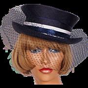 Vintage Hat Steampunk Derby Riding Style Blue Straw Ladies Size M