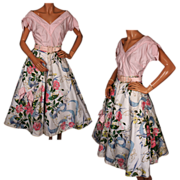 Vintage 50s Floral Print Cotton Circle Skirt and Pink Blouse  S
