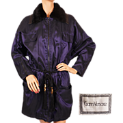 Vintage 90s Gianni Versace Jacket Coat - Purple Silk and Wool -  Size S / M