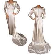 Vintage Satin Wedding Gown with Train 1930s Juliette Style - M