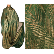 """Vintage Gold Lamé Green Silk Sewing Fabric 1920s Art Deco Lame Material 40"""" Width Per Yard"""