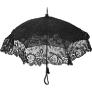 Antique Victorian Mourning Parasol with Black Chantilly Lace Cover