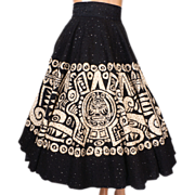 Vintage Mexican Black Sequin Circle Skirt 1950s Aztec Design Size S / M