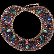 Vintage Marvella NYC Rhinestone Bib Necklace Vintage 1950s Dramatic & Spectacular Costume