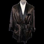 SOLD Vintage Majestic Smoking Jacket Bronze & Black Paisley 1950s Mens Size S