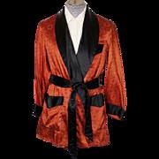 SOLD Vintage Smoking Jacket by Majestic Orange & Black 1950s Mens Size S