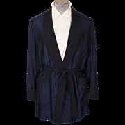 SOLD Vintage Smoking Jacket by Caulfeild Blue & Black Mens Size L