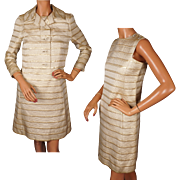 Vintage 1960s Striped Gold Brocade Dress with Jacket Gino Charles S / M