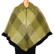 Vintage 1960s Scottish Mohair Wool Poncho Hudsons Bay