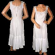 Antique Edwardian Chemise White Cotton Camisole Slip with Lace Trim c 1910
