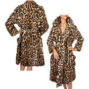 SOLD Vintage 60s Faux Fur Leopard Coat Safari by Fairmoor Lafrance Fabric M