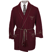 Vintage 1960s Smoking Jacket Maroon Wool -  M / L