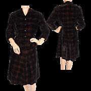 Vintage 1950s Velvet Suit By Ben Zuckerman New York Size S