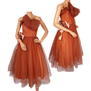 Vintage 1950s Brown Tulle Ball Gown Prom Dress Size Small