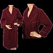 Vintage 1950s Maroon Wool Ladies Dressing Gown Lounging Robe Medium