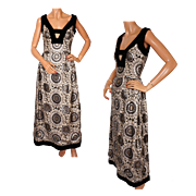 Vintage 60s Gold & Silver Metallic Brocade Evening Gown Dress Size M