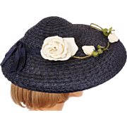 Vintage 1950s Blue Straw Hat Wide Brim with White Rose Ladies Size M