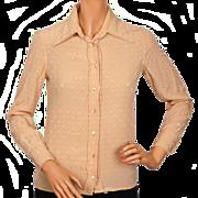 Vintage 70s Celine Paris Silk Shirt Blouse Woven Logo Ladies Size S M 8