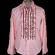 Vintage 1970s Tuxedo Shirt Pink Ruffled Disco Era Tux Mens Size M