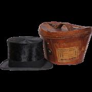 Vintage Silk Top Hat w Leather Case 1920s Henry Heath London Size 7 1/4